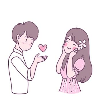 Mannen en vrouwen die liefde voor elkaar tonen