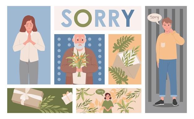 Mannen en vrouwen die zich verontschuldigen tegenover beledigde mensen die verontschuldigende geschenken sturen