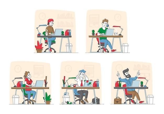 Mannen en vrouwen freelancers of kantoorpersoneel tekens bezig met laptop zittend aan een bureau. externe of stationaire werkplek. freelance zelfstandige beroepsconcept. lineaire mensen