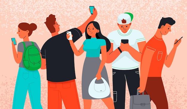 Mannen en vrouwen gebruiken smartphones om te communiceren. internet verslaving.