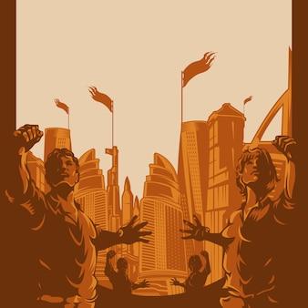 Mannen en vrouwen hieven protestvuist op met stadsachtergrond