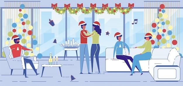 Mannen en vrouwen in santa claus-hoeden dansen en chatten