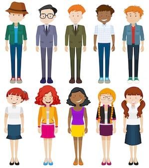 Mannen en vrouwen in verschillende kostuums