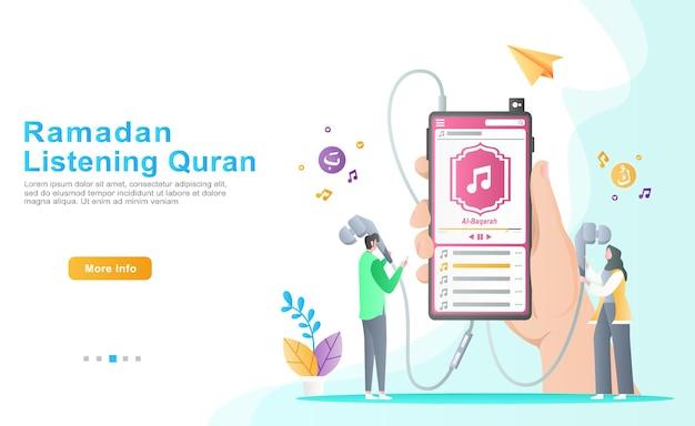 Mannen en vrouwen luisteren comfortabel naar de audiomuziek van de koran en letten op de inhoud ervan tijdens de ramadan