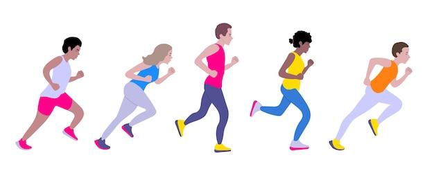 Mannen en vrouwen rennen. diverse groep jonge mensen lopen.