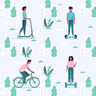 Mannen en vrouwen rijden eco stadsvervoer in openbaar park. persoonlijk elektrisch vervoer, groene electro scooter, hoverboard, gyroscooter, eenwieler en fiets. ecologisch voertuig, stadslevenconcept