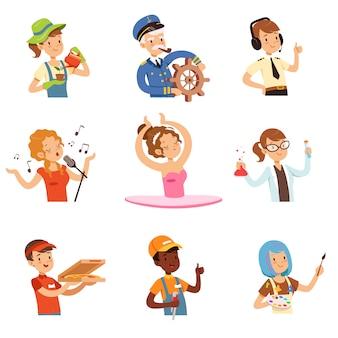Mannen en vrouwen van verschillende beroepen set, mensen avatars collectie kleurrijke illustraties op een witte achtergrond