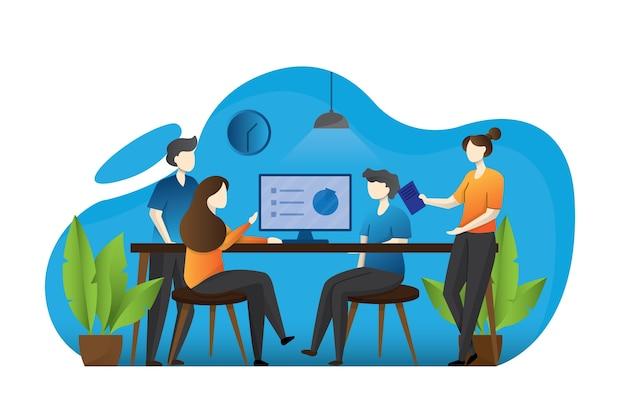 Mannen en vrouwen zitten aan een bureau en staan in een modern kantoor, werken op computers en praten met collega's. effectief en productief teamwerk. kleurrijke illustratie in platte cartoon stijl.