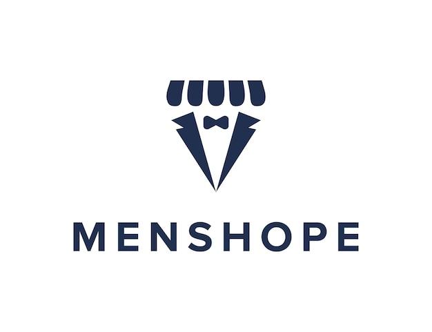 Mannen en winkel eenvoudig gestroomlijnd creatief geometrisch modern logo-ontwerp