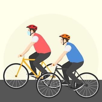 Mannen fietsen en dragen maskers om zich tegen virussen te beschermen
