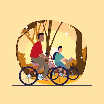 Mannen fietsen