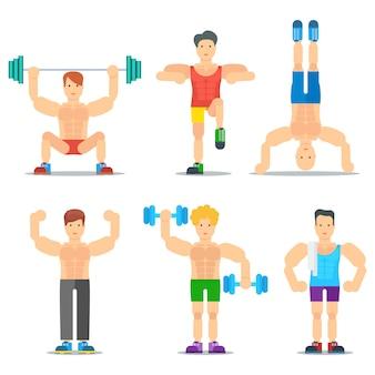 Mannen fitness cartoon pictogrammen collectie