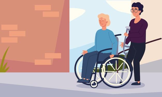 Mannen gehandicapte karakters