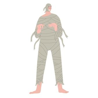 Mannen gekleed als oude monstermummie mensen in kostuums op halloween-feest vectorillustratie