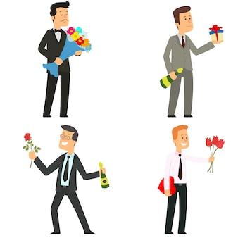 Mannen geven bloemen, geschenken en snoepjes.