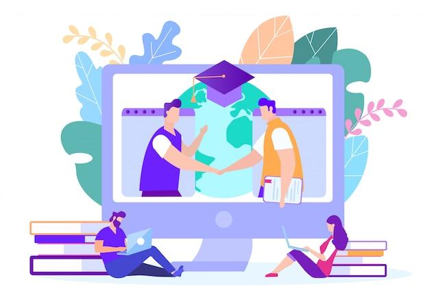 Mannen handshake. mensen bestuderen online laptops. d