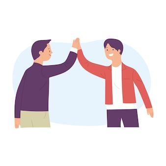 Mannen high five omdat ze het eens zijn met het doel