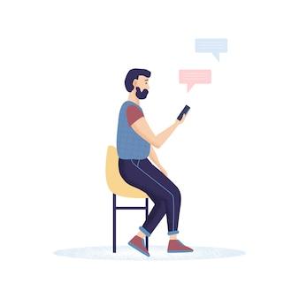 Mannen hipster met een baard met smartphones chatten, sms'en en praten.