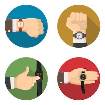 Mannen horloges 4 ronde plat pictogrammen
