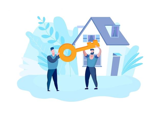 Mannen houden handen sleutel op achtergrond huis. vector.
