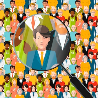 Mannen in menigte onder vergrootglas, vlakke afbeelding