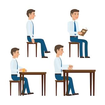 Mannen in overhemd en stropdas zitplaatsen op stoel aan tafel met boek, kopje koffie en pen in de hand