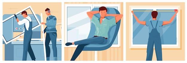 Mannen installeren nieuwe moderne kunststof ramen en tevreden klant zitten in fauteuil illustratie