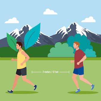 Mannen joggen en afstand houden op coronavirus covid 19, dagelijkse lichaamsbeweging buiten