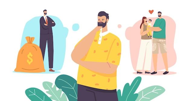 Mannen keuze concept. man kies tussen carrière en gezin. nadenkende man denk na over de balans tussen werk en relaties