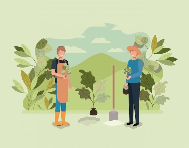 Mannen koppelen aanplant boom in het park