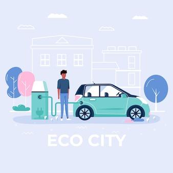 Mannen laden en rijden eco-auto, stadsvervoer in openbaar park. persoonlijk elektrisch vervoer, groen elektrisch vervoer. ecologisch voertuig geïsoleerd op wit