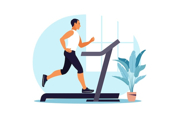 Mannen lopen op een loopband thuis. gezond levensstijlconcept. sportieve opleiding. geschiktheid. vector illustratie. vlak.