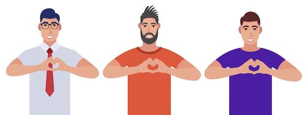 Mannen maken of gebaren hartsymbool met vingers. karakterset
