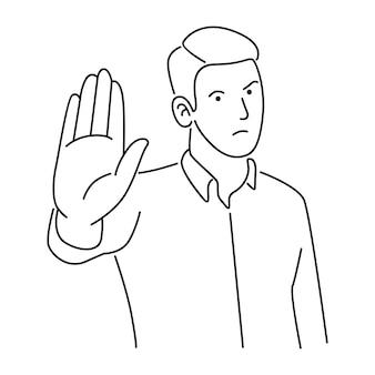 Mannen maken stopbord met handen en negatieve expressie