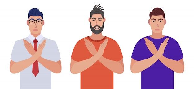 Mannen maken x-vorm, stopbord met handen en negatieve expressie. kruisende armen. karakterset. illustratie in cartoon-stijl.