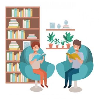 Mannen met boek in woonkamer avatar karakter