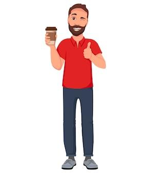 Mannen met een glas koffie. cartoon karakter illustratie.