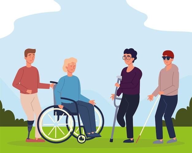 Mannen met een handicap