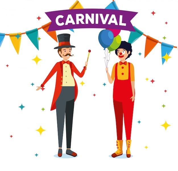 Mannen met festivalkostuum en ballonnen met feestbanner