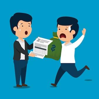 Mannen met financiële servicebelasting en geld