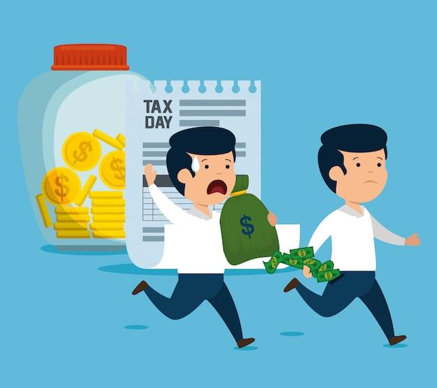 Mannen met geldvaluta en servicebelasting