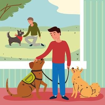Mannen met huisdieren