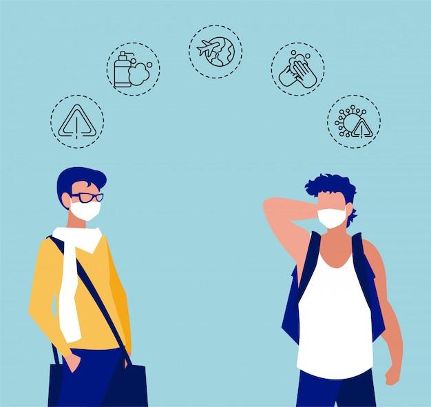 Mannen met iconen van coronavirusbescherming en symptomen