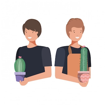 Mannen met kamerplant avatar karakter