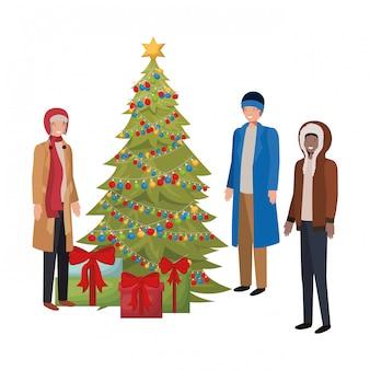 Mannen met kerstboom en geschenken avatar