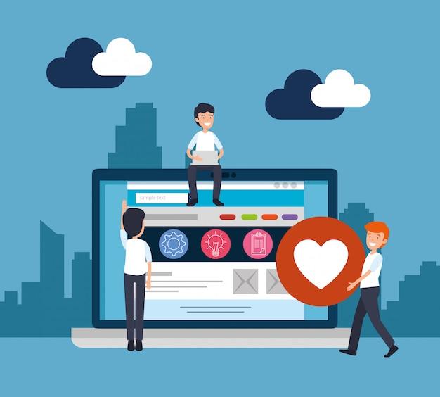 Mannen met laptop en kantoorwebsite-informatie