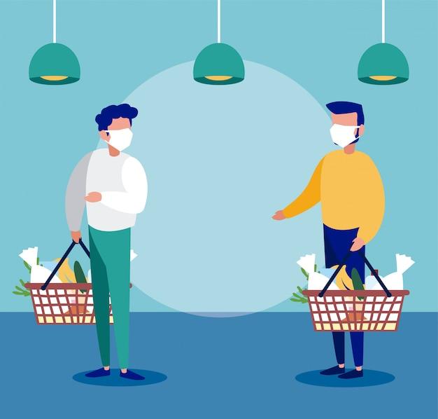 Mannen met medisch masker in de supermarkt met voorzorgsmaatregelen door coronavirus, sociale afstand