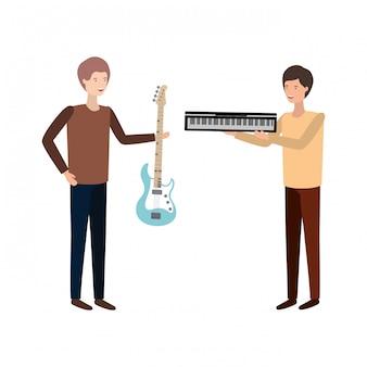 Mannen met muziekinstrumenten karakter