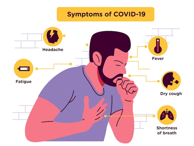 Mannen met symptomen covid 19 illustratie