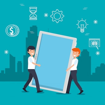 Mannen met tablettechnologie en gegevensinformatie